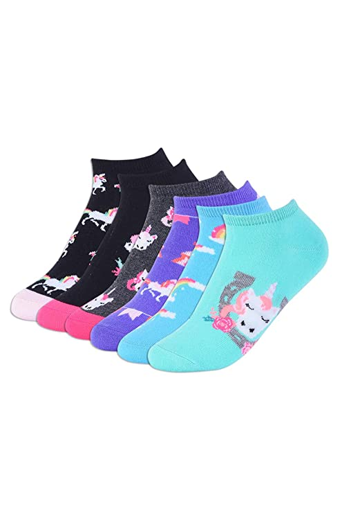 Cozy Unicorn Designs Adorable No Show Socks (6 Pairs)
