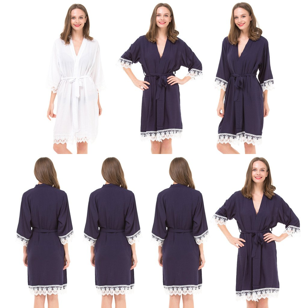 Set of 7 Women's Cotton Robes for Bride and Bridesmaid with Lace Trim by Mr&Mrs Right (Image #1)