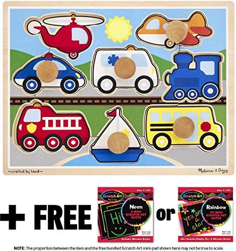 - Vehicles: Jumbo Knob Puzzle + FREE Melissa & Doug Scratch Art Mini-Pad Bundle [89807]