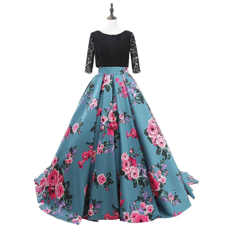 Amazon.com: LMBRIDAL Women\'s Lace Floral Print Prom Dress Long ...