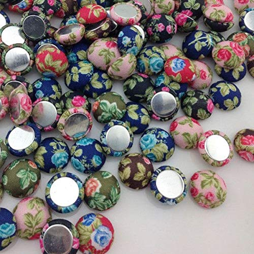 Waterbury Towel - Flowers Printing Fabric Covered Chunky Round Button Flat Back as Jewelry CT17