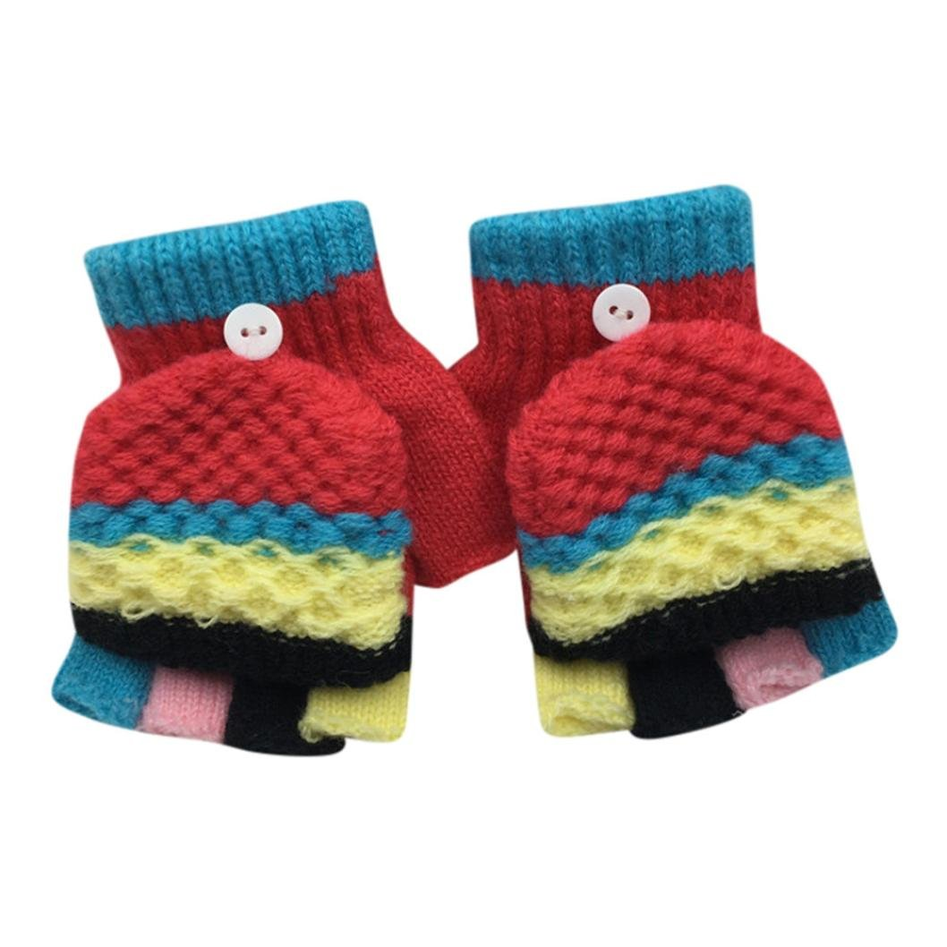 Digood Toddler Newborn Baby Girls Boys Fingerless Finger Mitten Thick Patchwork Winter Warm Gloves 2-6 Years old)