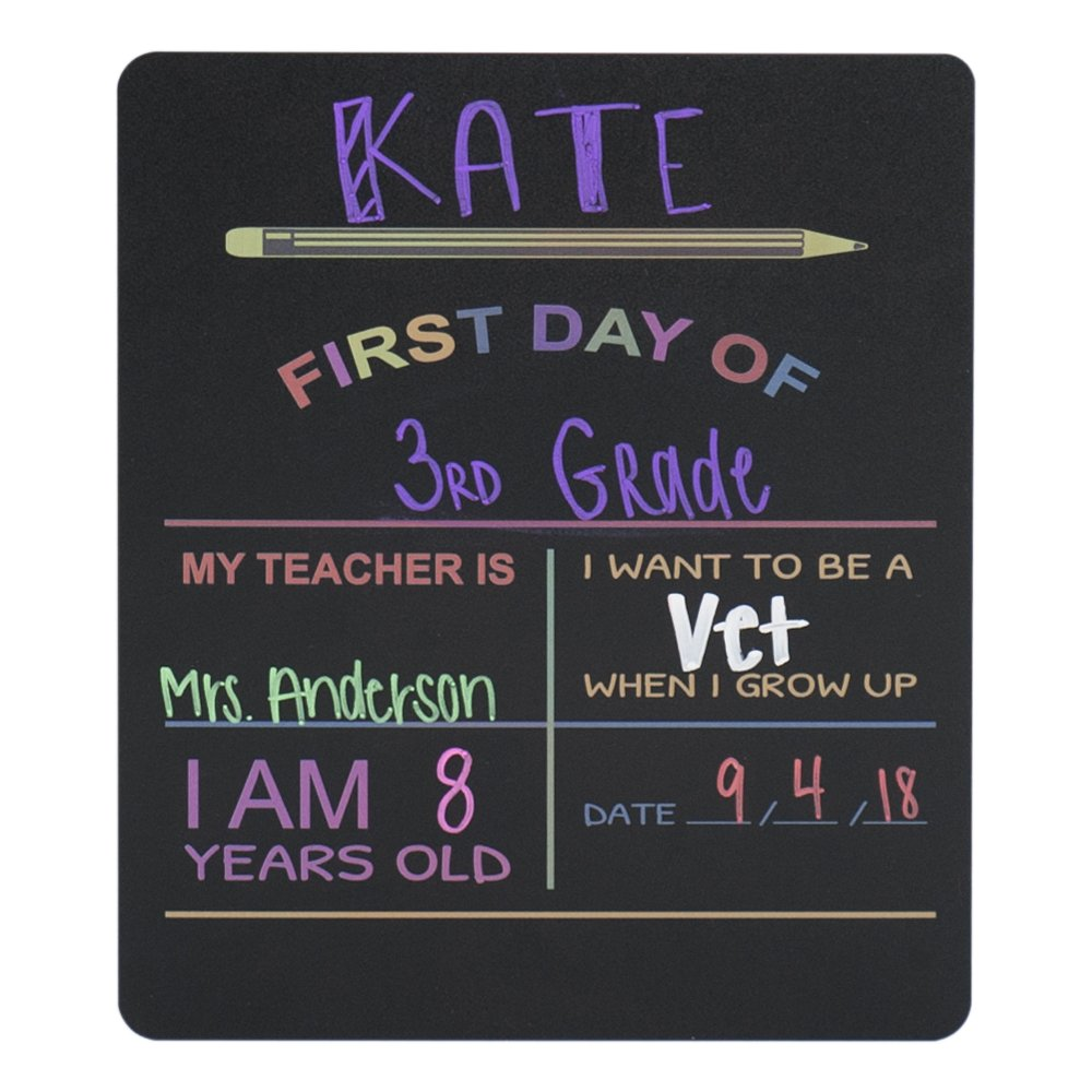 """Custom Product Solutions Reusable My First Day of School Milestone Chalkboard Sign. Photo Prop Board for Kids, Black w/color print - 12"""" x 10"""" rectangle"""