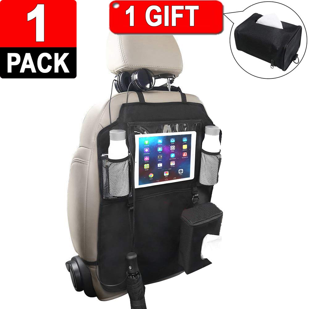 Car Back Seat Organizer Protector (1 pcs) – Multi-Pocket Storage & Organizer with Tablet Holder – iPad Holder, Mesh & Zippered Pockets – Generous Size – Clutter-Free & Tidy Car Includes a Tissue Box Lexans