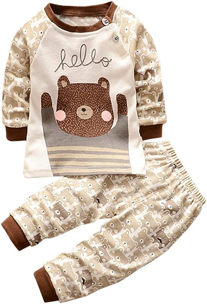 Long Sleeve Cartoon Bear Printed Cotton Tops Shirt Cute Kids Baby Boys Clothes