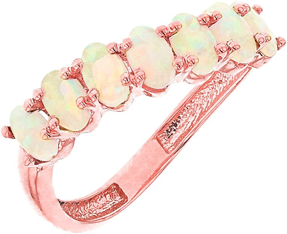Precious 14k Rose Gold October Birthstone Wavy Stackable Ring