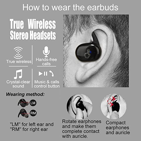 Nuevos auriculares estéreo inalámbricos, táctiles, a prueba de agua, con Bluetooth, tamaño pequeño (color negro).: Amazon.es: Electrónica