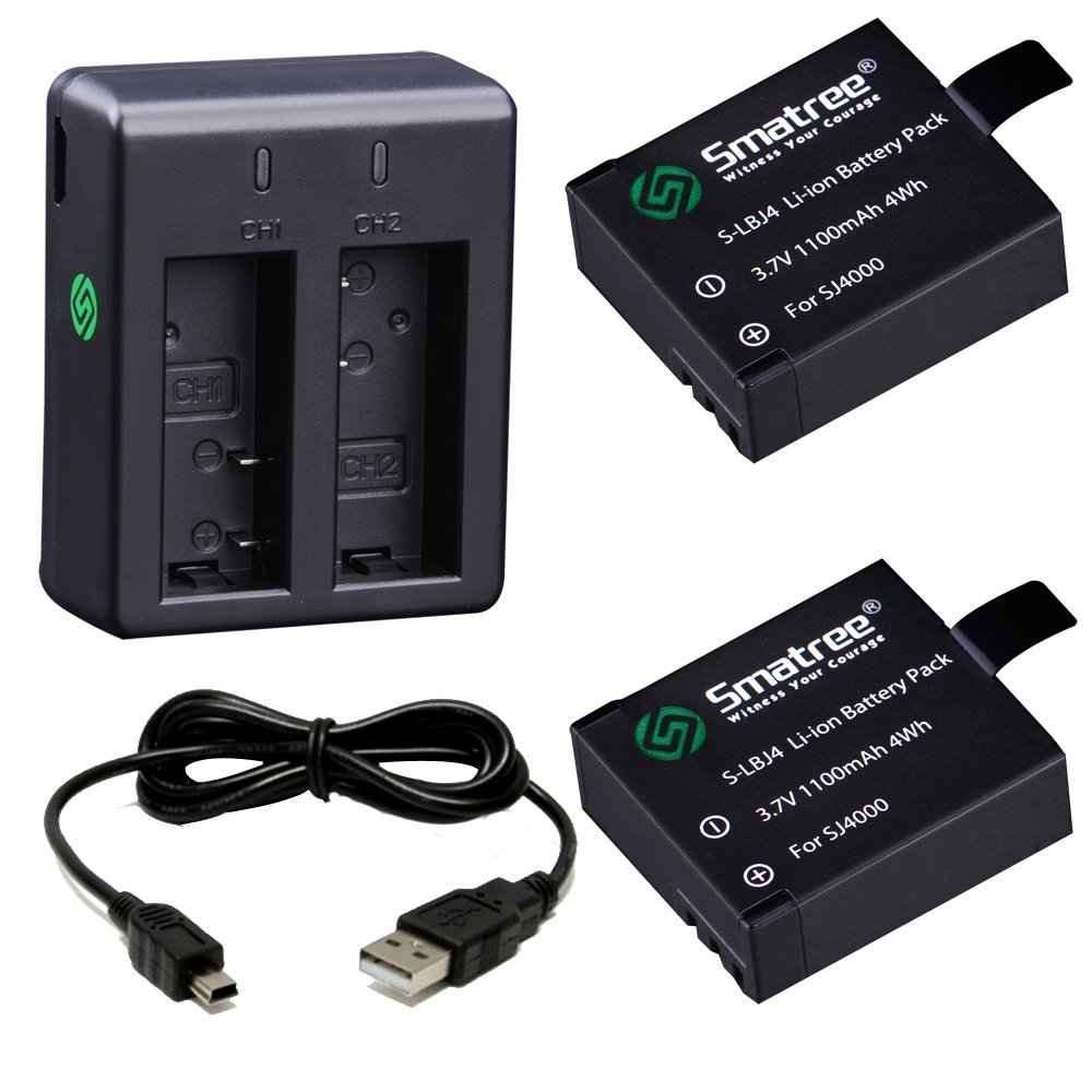Smatree Rechargeable Battery(2 Pack) for SJ4000/SJ5000/SJ6000/SJ7000/DBPOWER/MUSON with Dual Charger and USB Cable