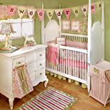 My Baby Sam Medallion Crib Bedding Set, Pink/Green