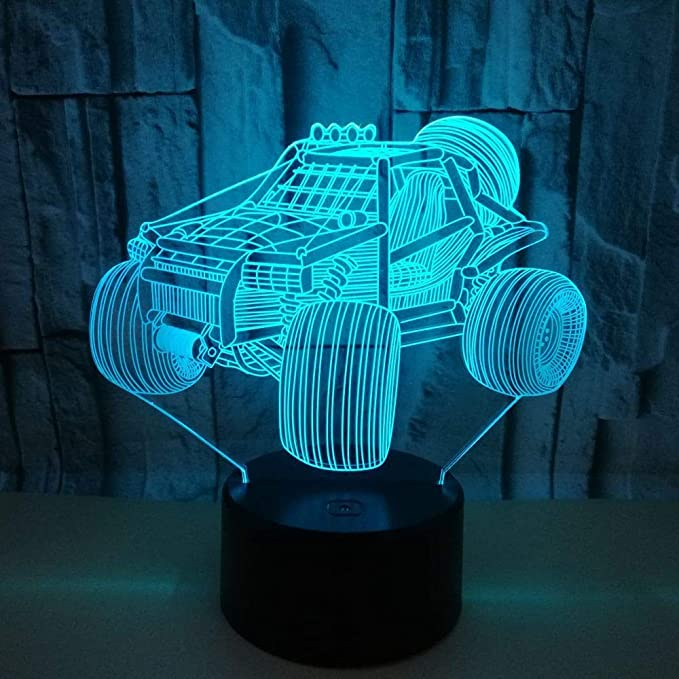 BFMBCHDJ Nuevo 3D Night Light Colorful Touch 3D Led Lámpara de mesa Gift Atmosphere Racing 3D Small Table Lamp A1 Base negra: Amazon.es: Iluminación