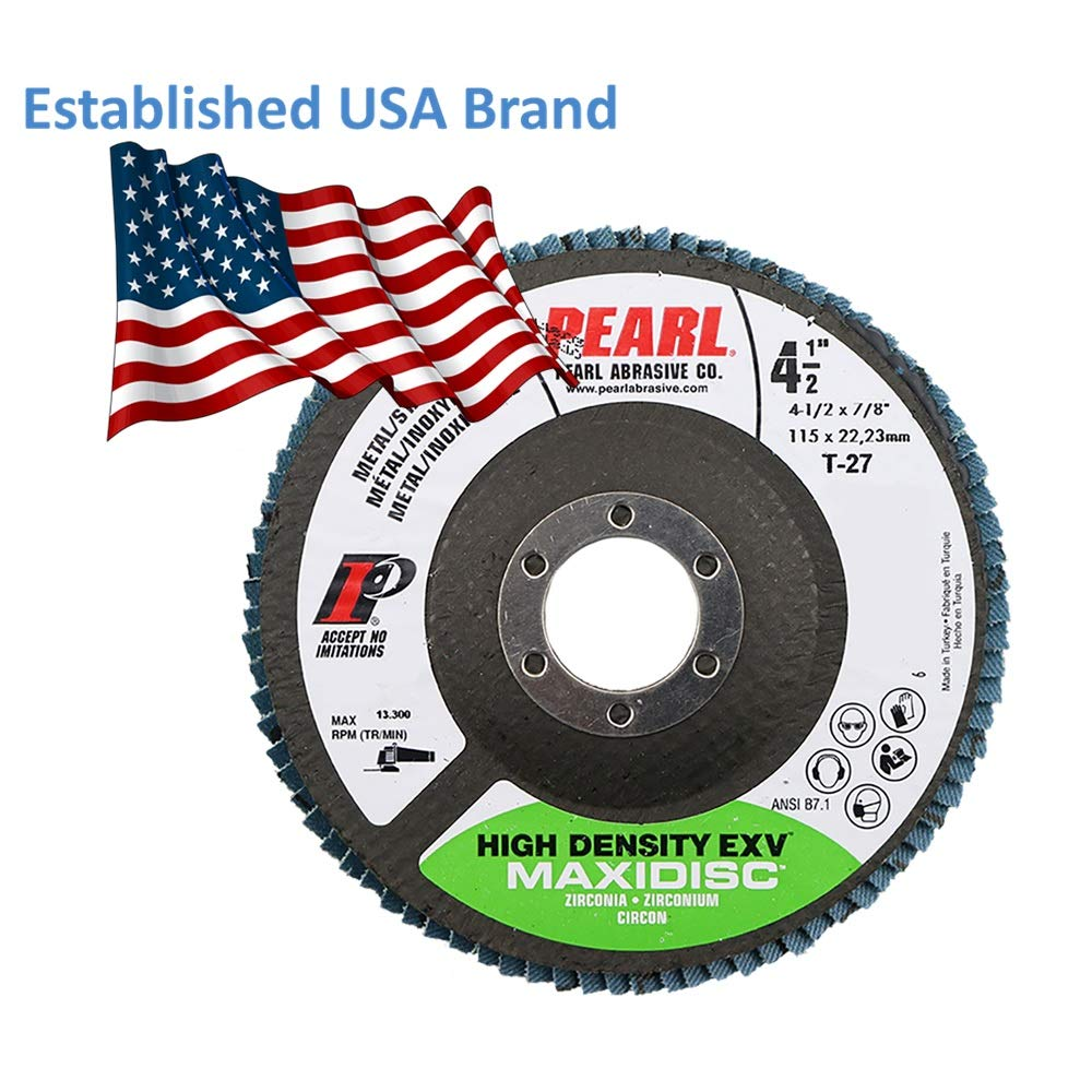 5-PK Pearl Abrasive MAX4540ZJE EXV High Density Zirconia Maxidisc Flap Disc 4-1//2 x 7//8 for Metal and Stainless Steel Type 27 Grit Z40