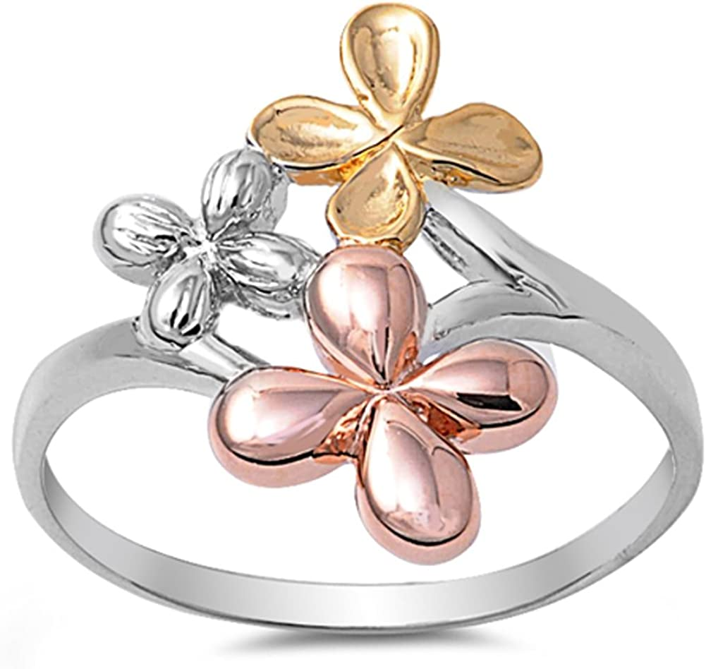 Pacific Islander Tropical Floral Jewelry For Women Gift For Her Sterling Silver Hawaiian Plumeria Ring 14K Gold Rose Gold Plated Flower