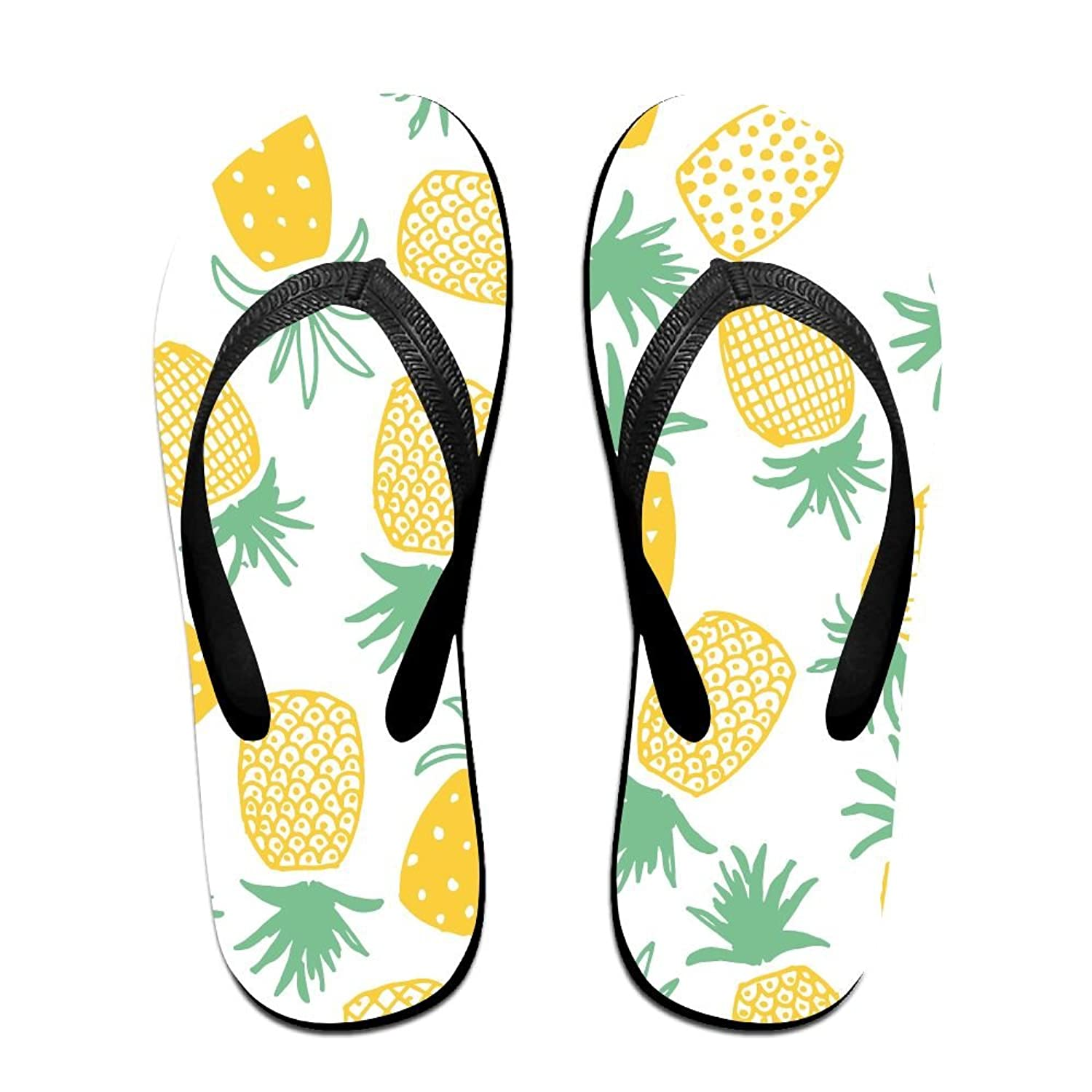 Couple Flip Flops Pineapple Print Chic Sandals Slipper Rubber Non-Slip Spa Thong Slippers