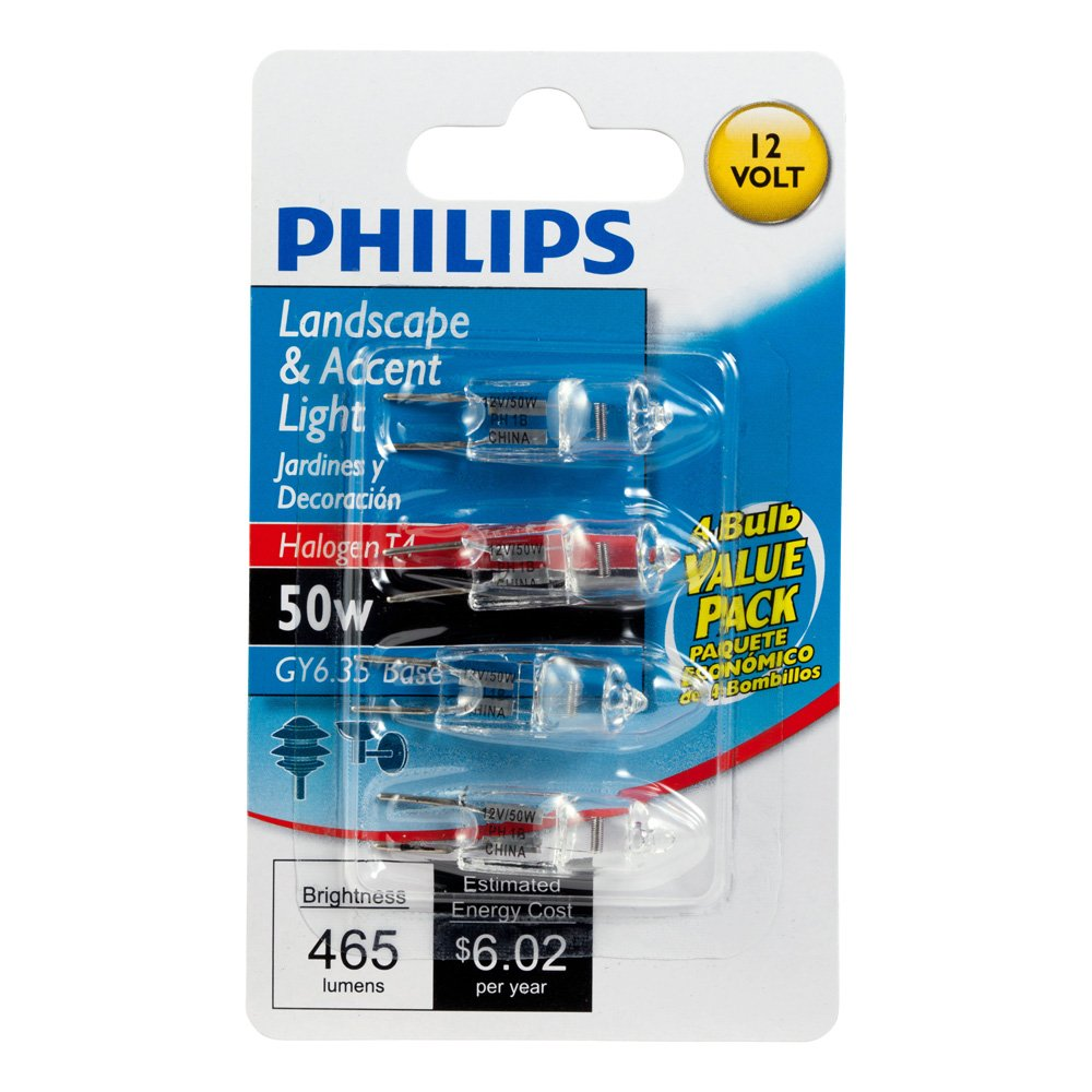 Philips 417105 Landscape and Accent 50-Watt T4 Bi-pin Base 12-Volt Light Bulb 4 Pack - Halogen Bulbs - Amazon.com