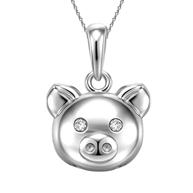 Amazon pig pendant necklace for women sterling silver plated pig pendant necklace for women sterling silver plated jewelry mozeypictures Gallery
