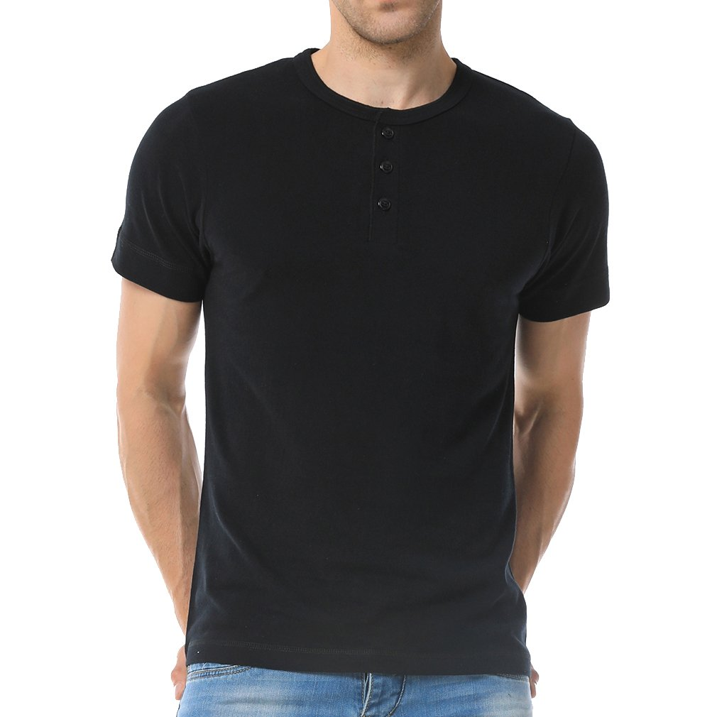 Just No Logo Men's Short Sleeve Casual Cotton Henley T-Shirt with Solid Color(L,Black)