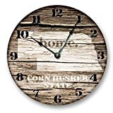 Cheap NEBRASKA STATE HOMELAND CLOCK -CORN HUSKER STATE – Large 10.5″ Wall Clock – Printed Wood Image- NE_FT