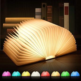 H/ölzerne faltende Buch-Lampe