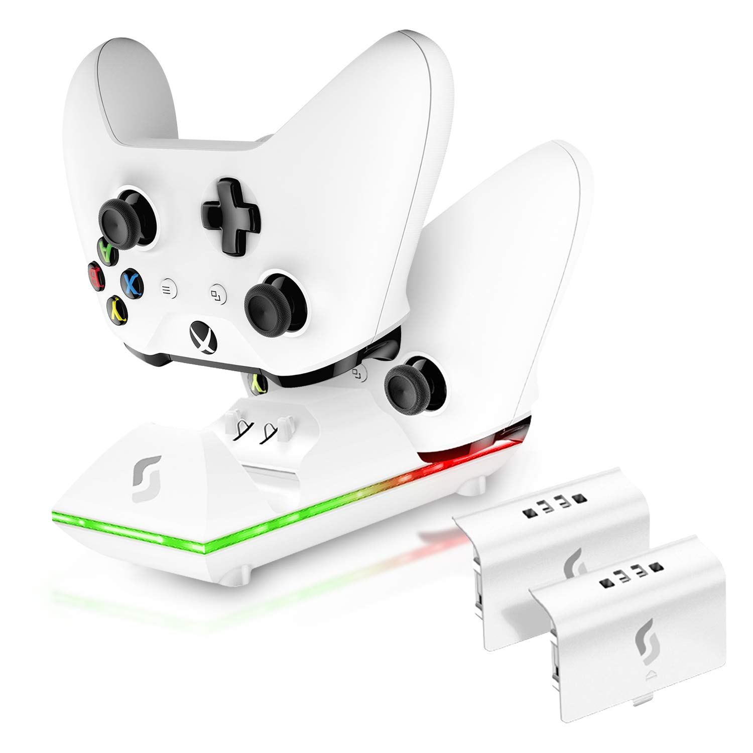 Sliq Xbox One/One X/One S Controller Charger Station and Battery Pack - Fits Two Wireless Game Pads, Includes 2 Rechargeable Batteries - Also Compatible with Elite and PC Versions (White)