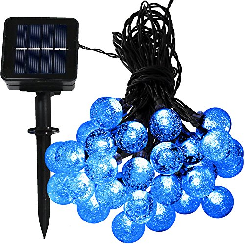 Sunnydaze 30-Count Blue Globe LED Solar Powered String Lights, Includes One 20-Foot Strand