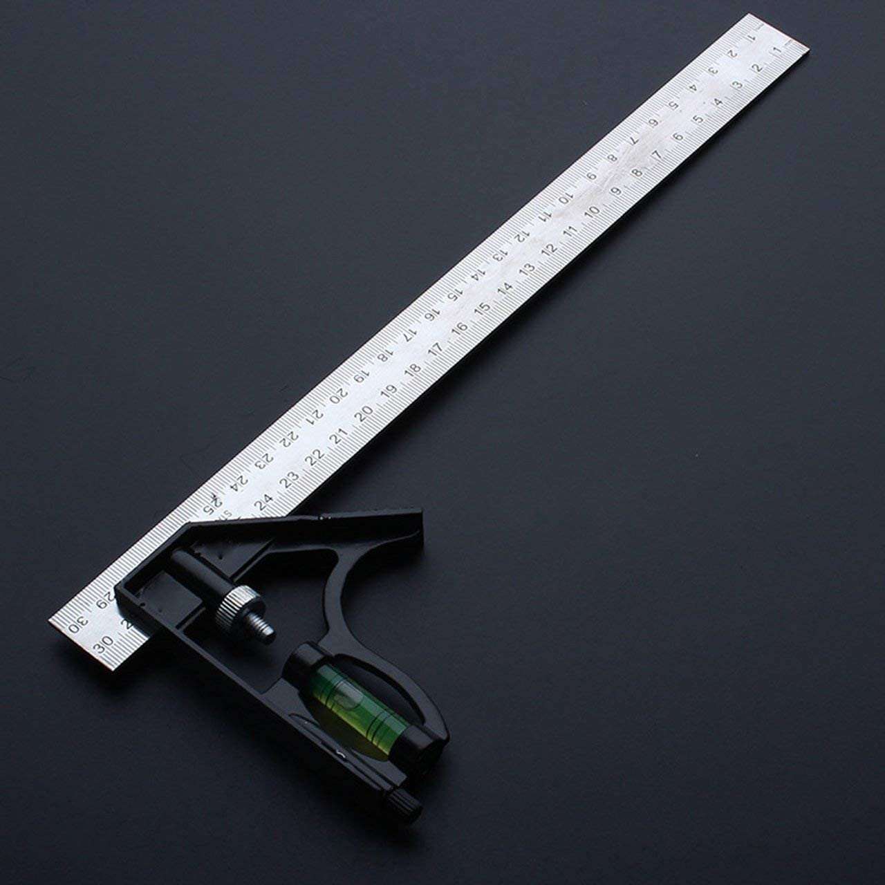300Mm Adjustable Combination Square Angle Ruler 45//90 Degree with Bubble Level Multifunctional Gauge Measuring Tools