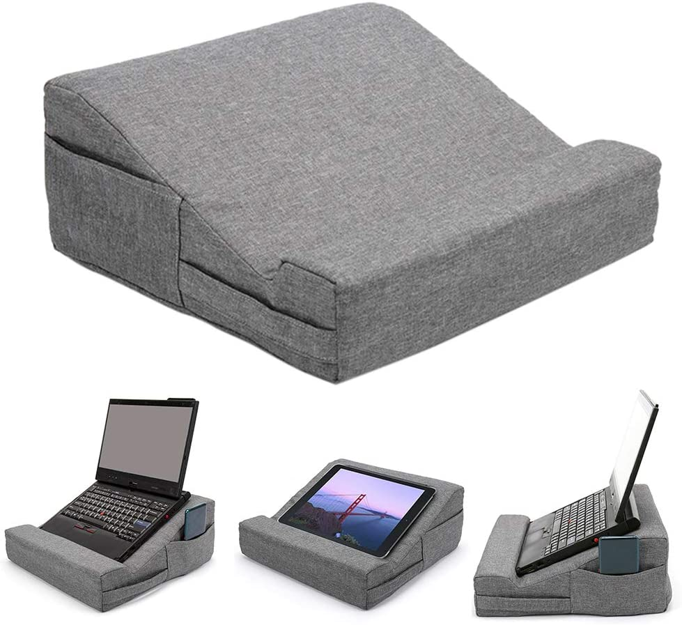 Laptop Tablet Pillow with Side Pocket, Multifunction Tablet Pillow Stand, Tablet Stand Pillow Holder for iPads, Tablets, Laptop, Books
