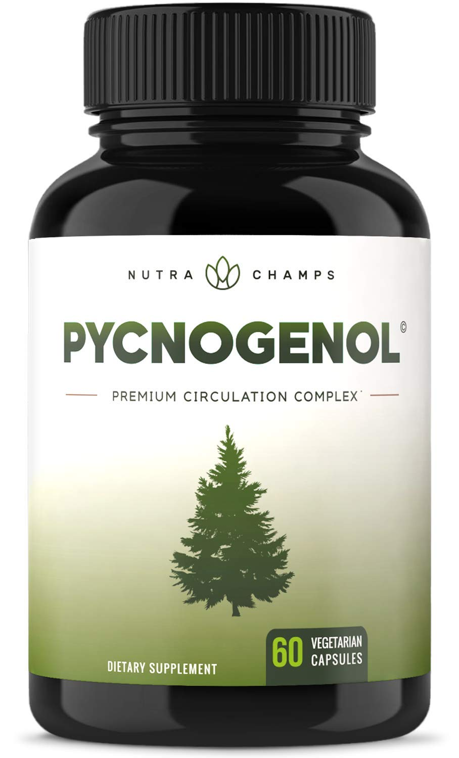 Pycnogenol Pine Bark - Premium Supplement with 200mg Herbal Complex for Circulation, Blood Flow & Nitric Oxide Production - Superior Absorption & Results with Black Pepper Extract by NutraChamps