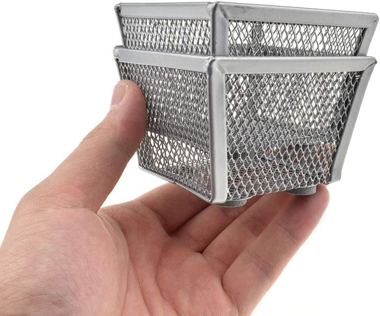 "HAHIYO Stackable Paper Clip Mesh Holder Cup 2.2"" Height 2 Pack Silver Sturdy Paperclip Holder Container for Desk Drawer Organizer Collection for Home Office School Soft Foam Feet No Sharp Edges"