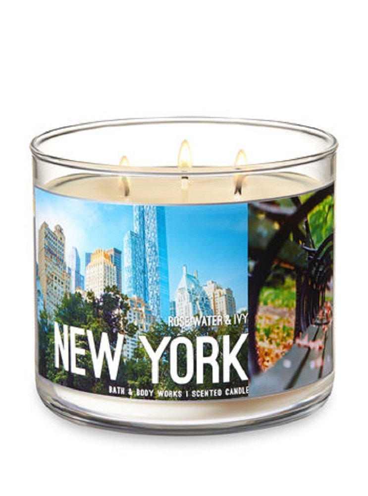Bath /& Body Works NEW YORK 3 Wick Candle in Rose Water /& Ivy Scent