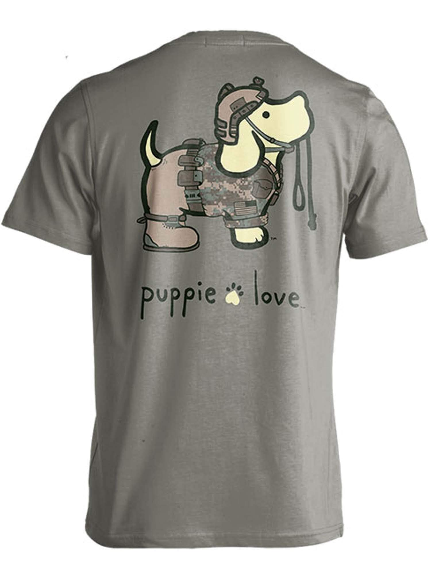 Rescue Dog Adult Unisex Short Sleeve Cotton T-Shirt, Army Pup (Medium, Heather Military Green)