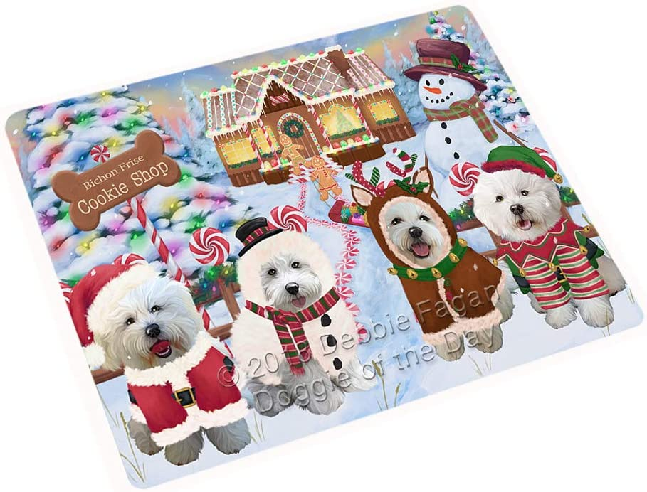 "Holiday Gingerbread Cookie Shop Bichon Frises Dog Large Refrigerator/Dishwasher Magnet RMAG98910 (18"" x 24"")"