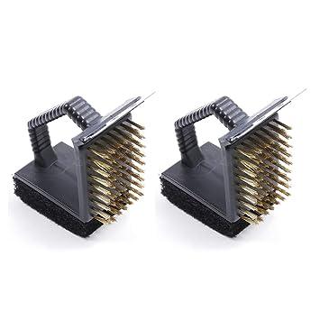 AaaSue - 2 cepillos de limpieza de alambre de metal para barbacoa 3 en 1,