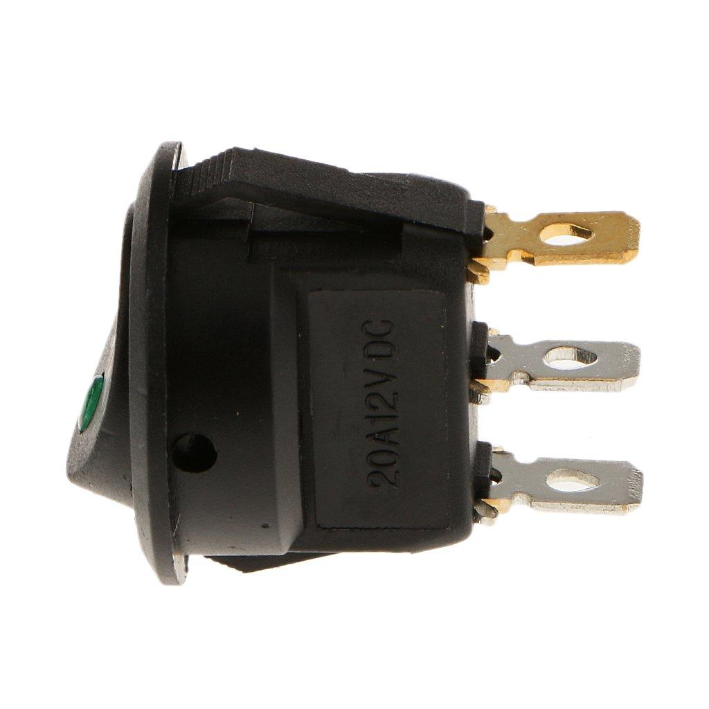 MonkeyJack Green LED Round 3 Pin Rocker 12v DC Dashboard Panel Switch Parking Reverse Backup Sensor Front Rear