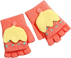 Ankola Toddler Children Gloves Cartoon Patchwork Convertible Flip Top Gloves with Mitten Cover Winter Warm Half Finger Fingerless Gloves
