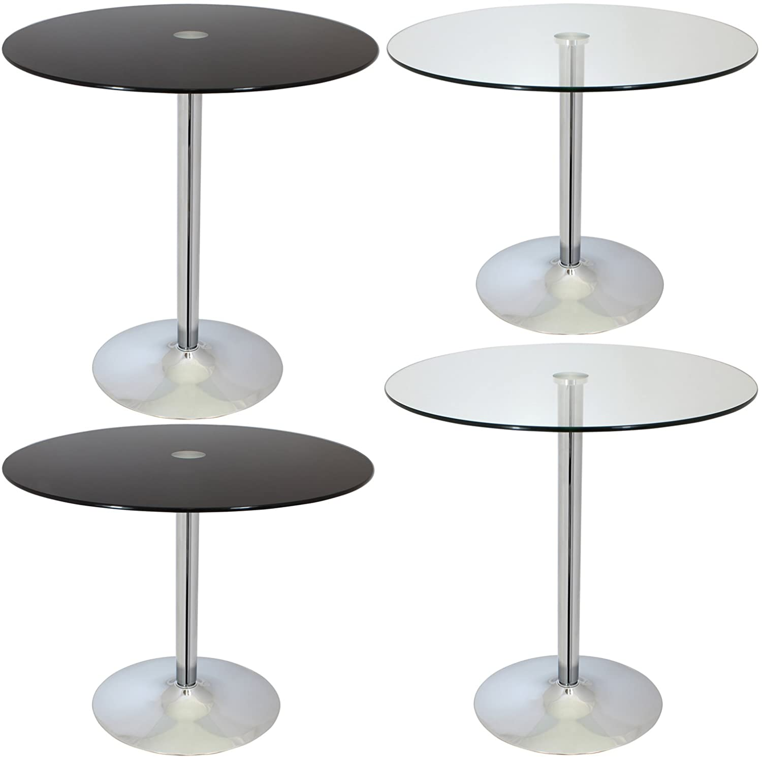 Hartleys Large 80cm Glass Top Tables   Available In Clear/Black Low/High:  Amazon.co.uk: Kitchen U0026 Home