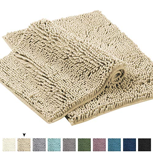 Super Thick Plush Luxury Chenille Bath Rug Extra Soft and Absorbent Shaggy Bathroom Mat Rugs, Machine Wash/Dry, Plush Carpet Mats for Kids Tub and Bath Room(Beige, Pack 2-17