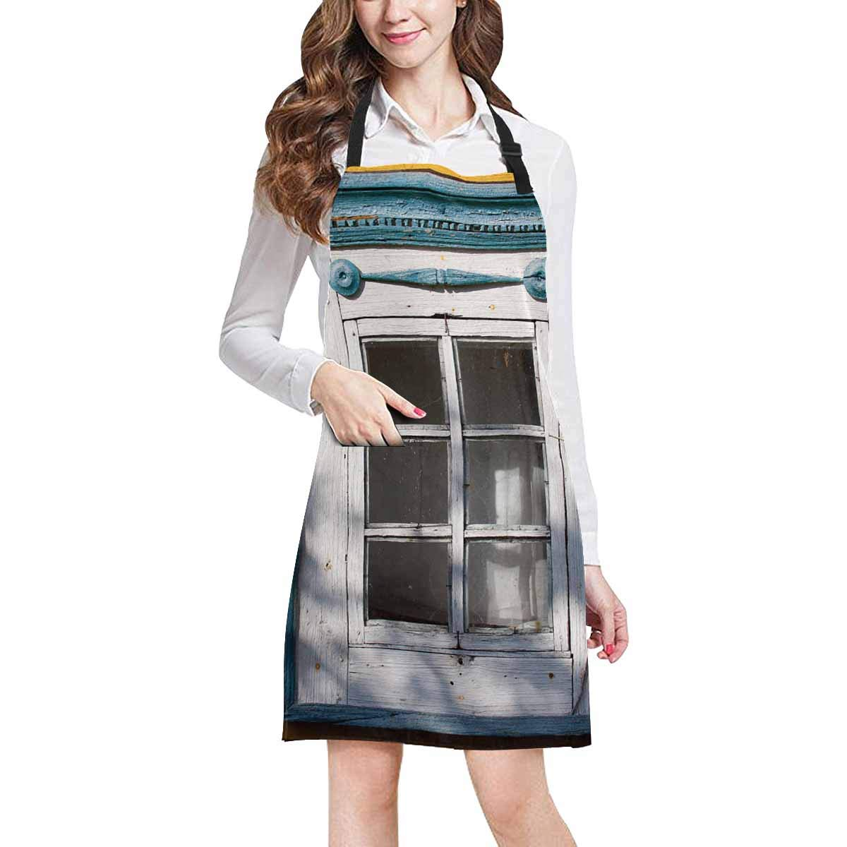InterestPrint Traditional Lithuanian House Window Traditional Ornaments Chef Aprons Professional Kitchen Chef Bib Apron Pockets Adjustable Neck Strap, Plus Size