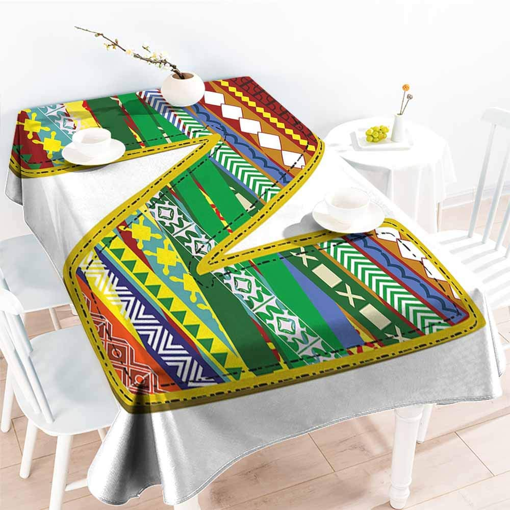 Onefzc Outdoor Tablecloth Rectangular,Letter N N Letter with Yellow Corners Hippie Primitive Culture Tribal Effect Models My Name,Modern Minimalist,W60x84L Multicolor