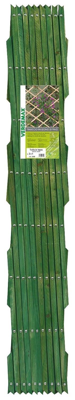 Verdemax 5330 2 x 1 m Heavy Pine Wood Extensible Trellis with Studs Green
