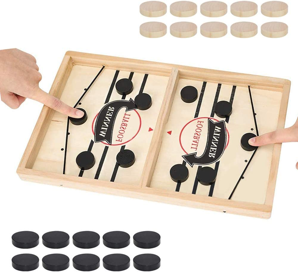 moopok Fast Sling Puck Game,Slingshot Games Toy,Table Desktop Battle 2 in 1 Ice Hockey Game, Winner Board Games Toys for Parent-Child (Large, Football Winner)