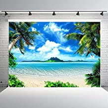Nextunit 7x5ft Tropical Beach Backdrop Vinyl Palm Trees Blue Sky Background for Photography, Wedding Decoration, Party Banner