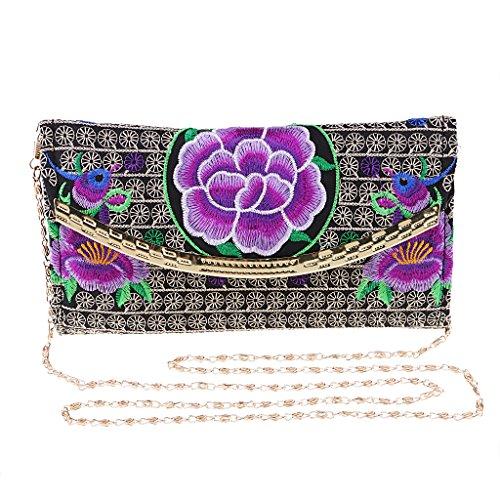 Púrpura De Del Color Bordado Mujeres Del 19x10cm Recorrido Bolso Del Del Magideal De Flores Del Del Bolso De Las Monedero Hombro Patrón wax7pWqpRH
