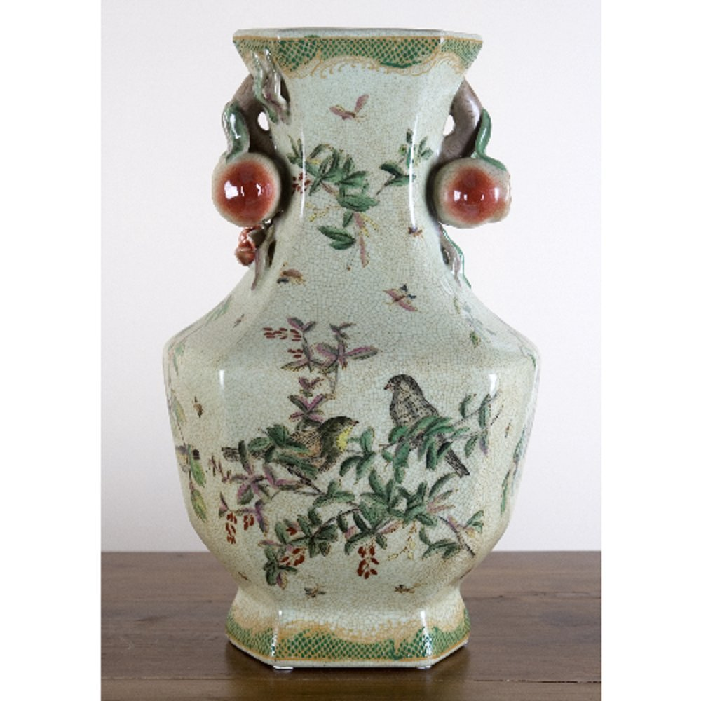 Home decor. Ivory and Green Bird Hexagon Vase. Dimension: 9 x 8 x 15. Pattern: Emerald Garden.
