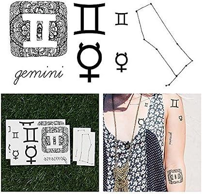 Tatuajes Temporales Tattify - Astrología - Géminis (juego de 14 ...
