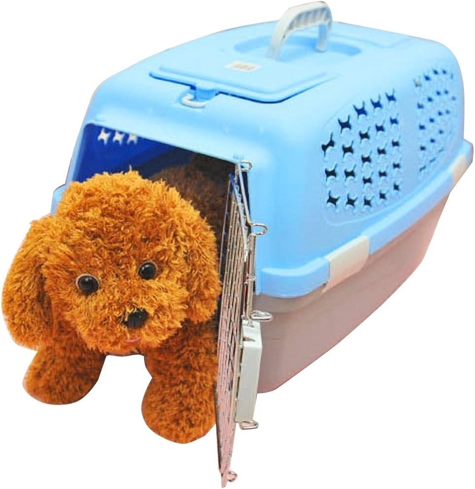 FeiNianJSh para Gatos/Perros y Otras Mascotas Pet Airways Box Checked Los Maletas Maletas de Transporte de Equipaje (Top sin Orificios de ventilación del Techo Solar) Small (Color : Azul)