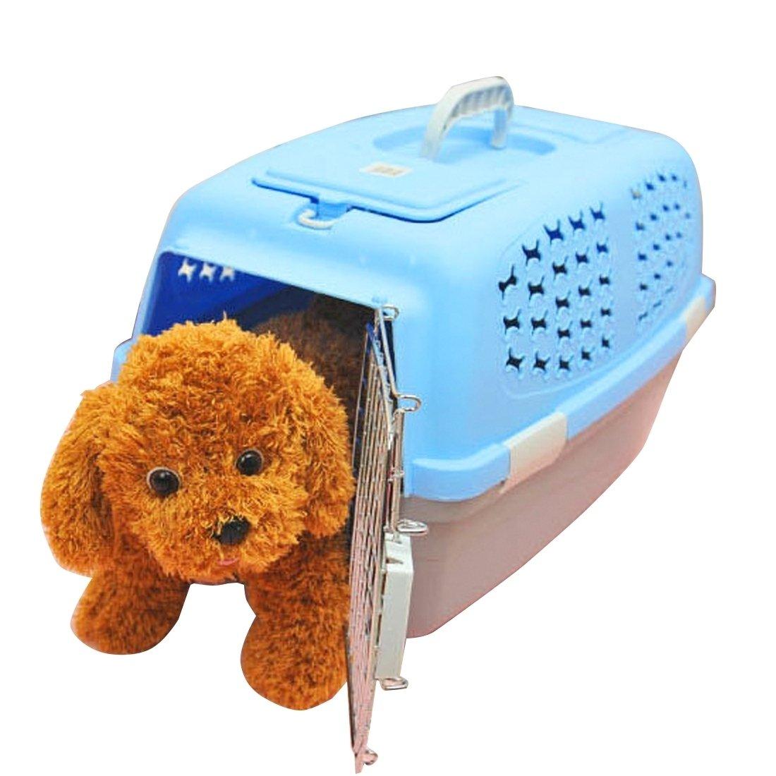 DuoShengZhTG Gatto Cane E Altri Animali Domestici. Pet ceramica Box Checked The Cases Out gabbie di trasporto di bagagli, parte superiore con laterali e fori di ventilazione grande blu