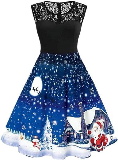 VJGOAL Vestido de Navidad para Mujer Vintage Casual Moda ...