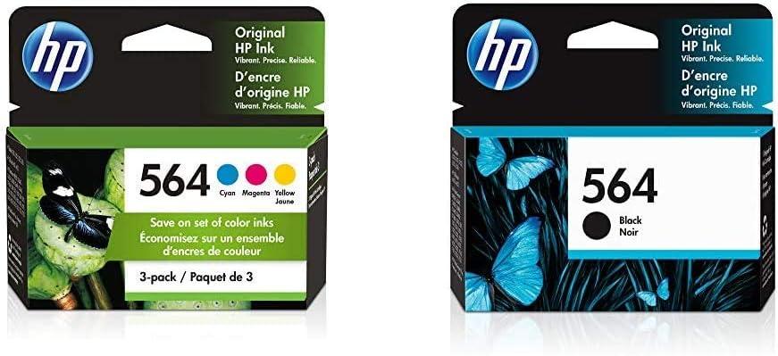 HP 564 | 3 Ink Cartridges | Cyan, Magenta, Yellow | CB318WN, CB319WN, CB320WN & 564 | Ink Cartridge | Black | CB316WN