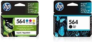 HP 564   3 Ink Cartridges   Cyan, Magenta, Yellow   CB318WN, CB319WN, CB320WN & 564   Ink Cartridge   Black   CB316WN