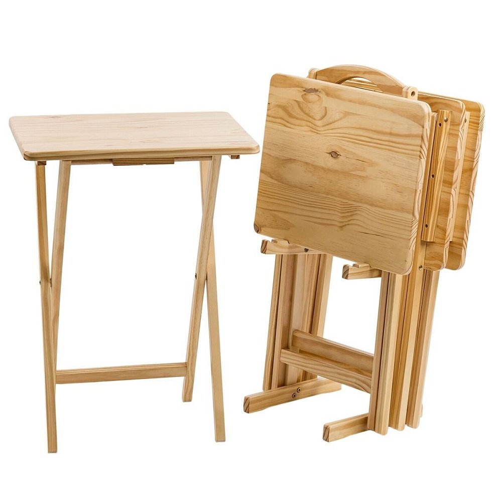 Pearington PEAR-29-00283 Ranchwood Folding Table Multipurpose use-TV Tray for for Dining Desk- Pack 4 Laptop Computer Stand Natural Wood Finish Gaming